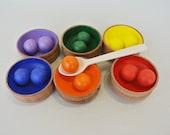 Wooden sorter. Sorting toy balls. Wood rainbow balls. Wood rainbow sorter. Wooden balls. Wooden toys