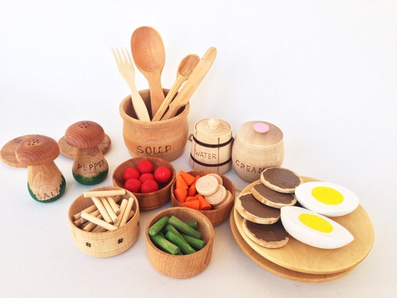 Play Kitchen Wooden Set Play Food Wooden Food Toys Play Etsy