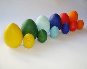 Sorting eggs. Wood rainbow eggs. Wooden eggs. Wooden toys