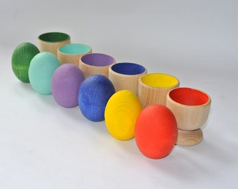 Sorting eggs. Stacking toy. Wood rainbow eggs. Wooden eggs. Wooden toys