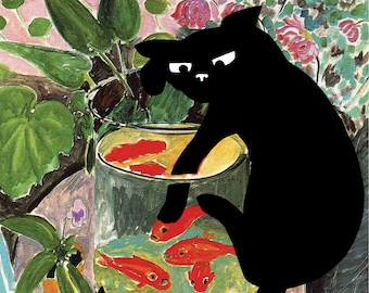 print of matisse goldfish with cat, famous paintings with cats, defaced paintings, cat and fish