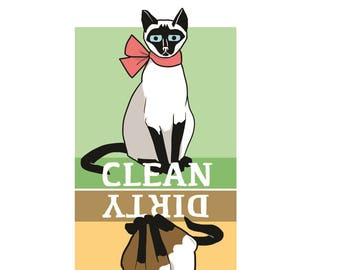 clean dirty dishwasher magnet, siamese cat