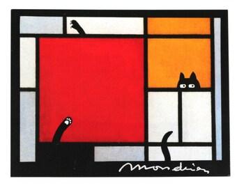 funny cat postcard (4), funny card, black cat card, piet mondrian postcard, abstract, cat postcard, funny cat card, modern art