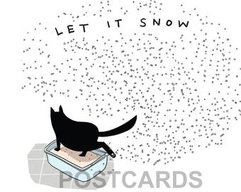 funny cat postcards (4), cat postcard, black cat note card, christmas cards, holiday card, kitty litter card, secular funny cards