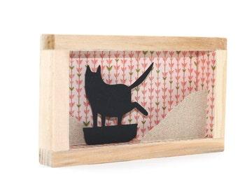 cat framed art, shadowbox, funny cat art, black cat diorama, cat paper art, cat miniature, tiny art, small art, black cat, black cat art