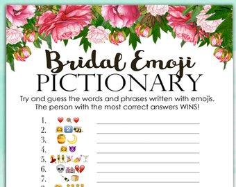 bridal shower game pictionary emoji pictionary peony bouquet instant printable digital download diy bridal shower printables