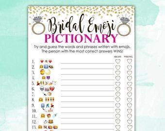 bridal shower game pictionary emoji pictionary hot pink and gold instant printable digital download diy bridal shower printables