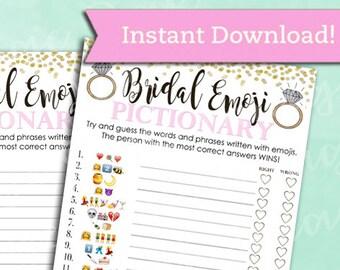 bridal shower game pictionary emoji pictionary blush pink and gold instant printable digital download diy bridal shower printables