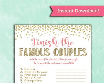 bridal shower game famous couples coral and gold instant printable digital download diy match the couples fun activity unique game
