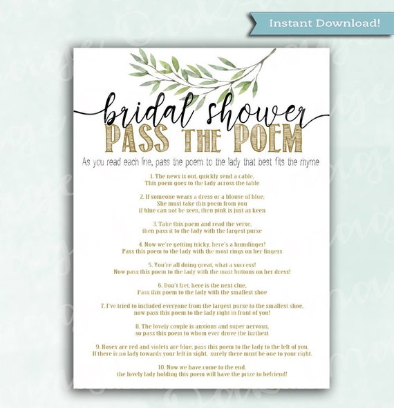 5335a8fd6c60 Bridal Shower Game Pass the Poem Olive Branch Instant