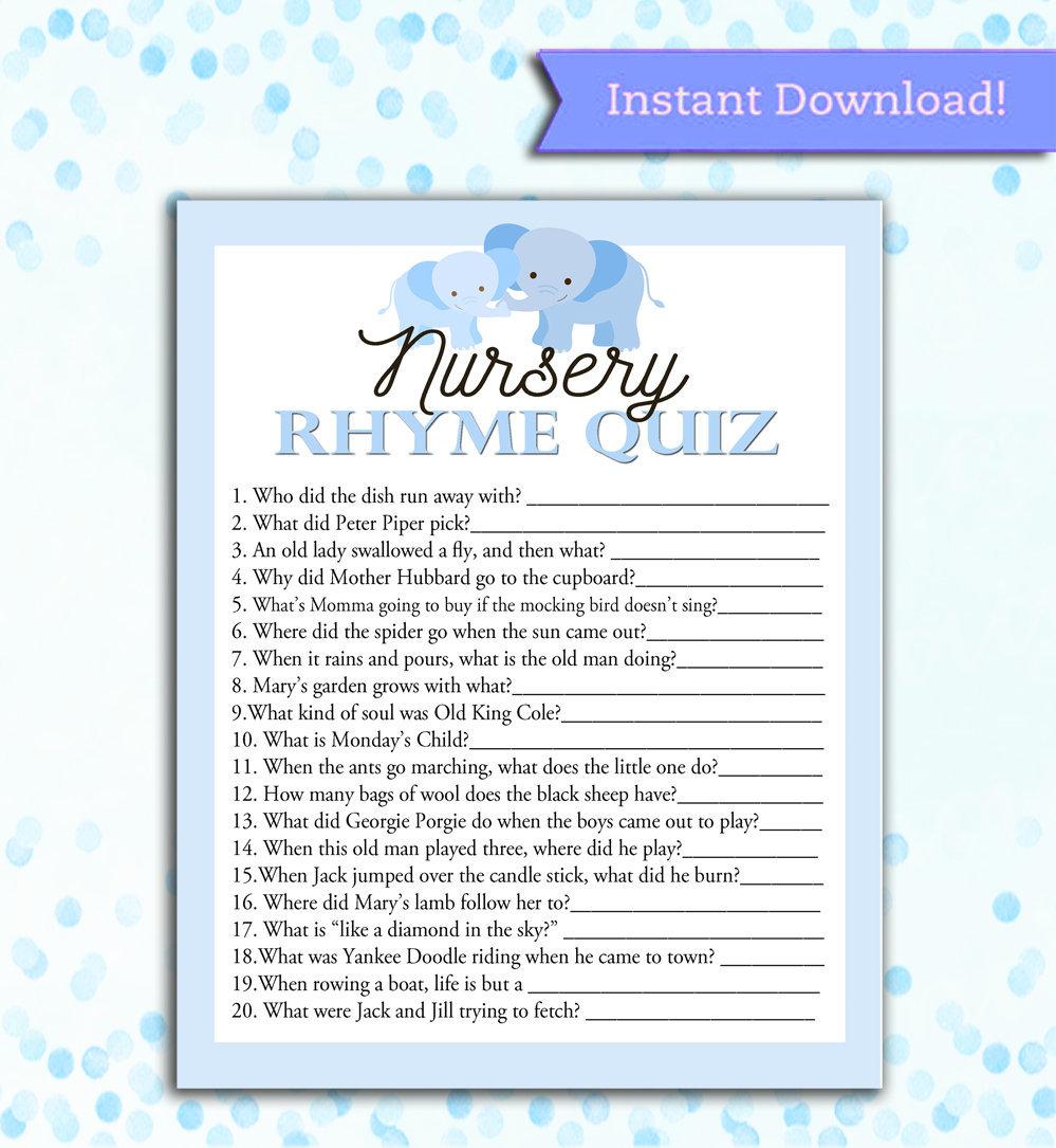 Baby Shower Game Nursery Rhyme Quiz - Printable Digital Instant Download -  SILVER Blue Elephant Theme Favors Gender Neutral Boy Girl Shower