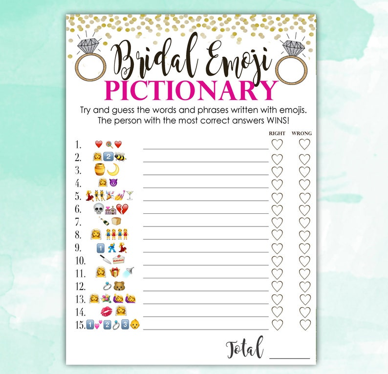 image regarding Emoji Bridal Shower Game Free Printable called Bridal Shower Video game Pictionary - EMOJI Pictionary - Incredibly hot Crimson and Gold - Prompt Printable Electronic Down load - do it yourself Bridal Shower Printables
