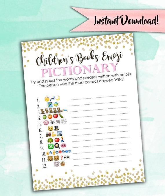 Baby Shower Game Pictionary Emoji Pictionary Etsy