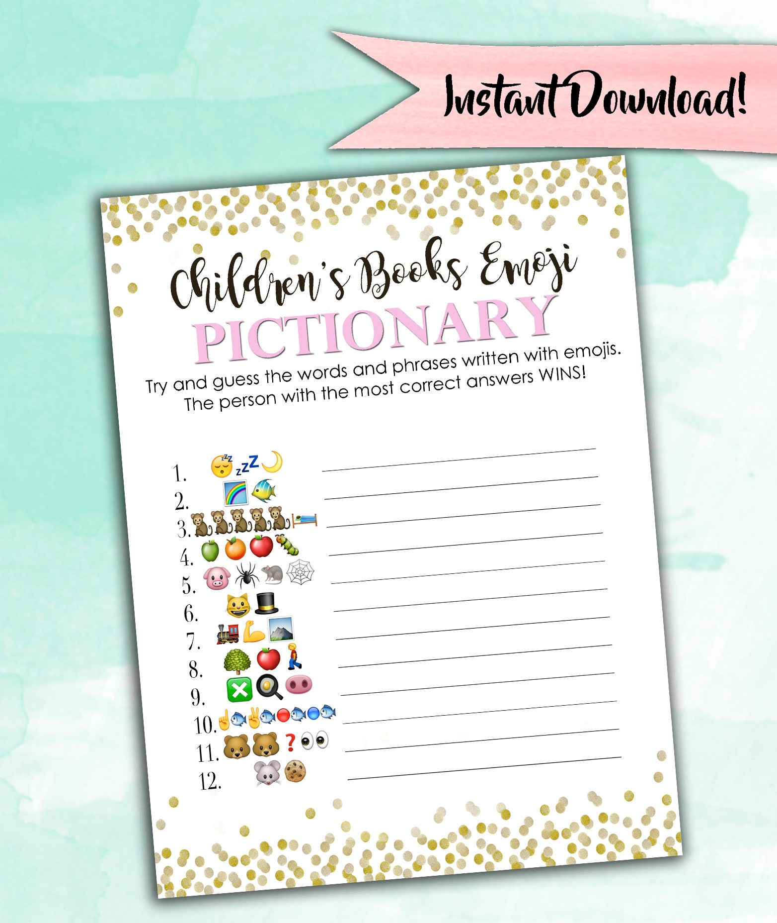 Baby Shower Emoji Pictionary Answer Key Free Baby Shower Ideas