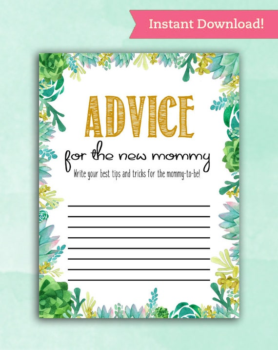 Baby Shower Game Cards Advice For Mommy Succulent Cactus Etsy