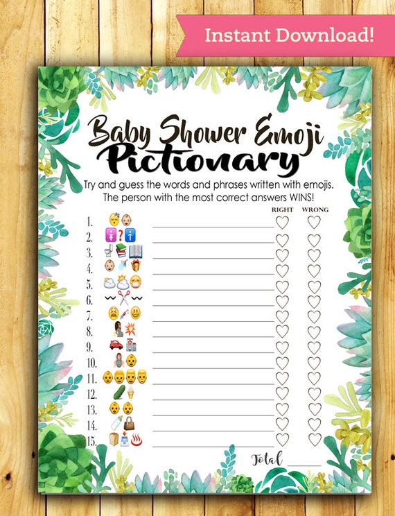 Baby Shower Emoji Pictionary Baby Shower Game Succulent Etsy
