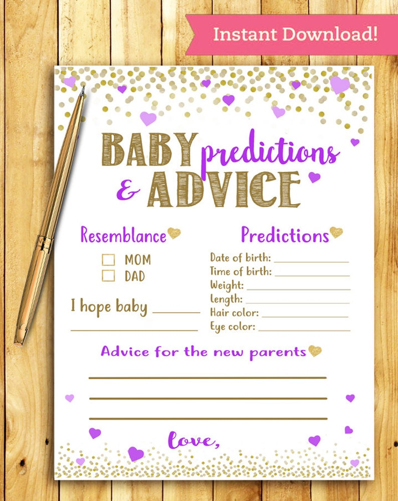 Baby Shower Game Baby Predictions And Advice Purple And Etsy