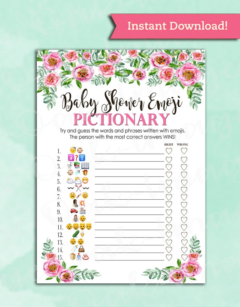 Baby Shower Game Pictionary EMOJI Pictionary Pink Peony   Etsy