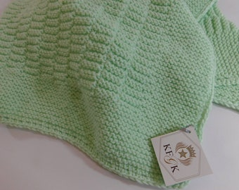 Dedication CHristening Baby Blanket Gift , Knitted , Celadon Green, Soft and Cuddly, Washable Wool, Perfect Baby Shower Gift, One of a Kind!