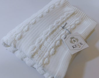 Dedication Baby Blanket, White Pima Cotton, Original KFGK knits Design, Unisex Baby Shower or Christening Gift, Easy Care, Made in the USA!