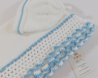 Dedication Baptism Baby Blanket with Matching Hat, Pima Cotton, Unisex Design, White with Blue Trim, Great Shower Gift, One of a Kind!