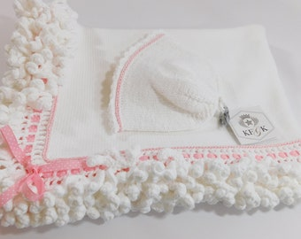 Designer Dedication Baby  Blanket, Christening, Baptism, Baby Shower Gift Set, Made in our Signature Cotton, White and Pink, One of a Kind!