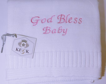 Dedication Blanket, White, 100% Pima Cotton, God Bless Baby Baptism or Christening Gift, Made in the U.S.A. KFGK knits Design