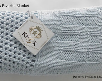 Baby Blanket, Hand Knitted with a matching hat! 100% Supreme Cotton, Baby Blue, Perfect Baby Shower Gift, made in the USA!