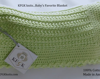 Baby Blanket, 100% Cotton, Hand Knitted, Unisex Design, Baby Shower Gift, One of a kind!