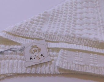 Dedication Blanket, White Pima Cotton, Original Knitted Design from KFGK knits, Unisex, Baby Shower Gift, Made in the USA!