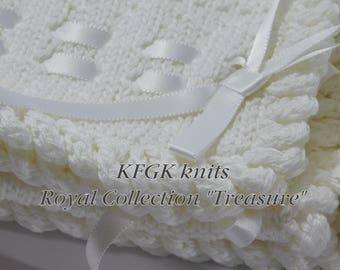 Designer Dedication Baby Blanket,  Knitted, KFGK Original Design, Pure White, 100% Pima Cotton, Exquisite embellishments!