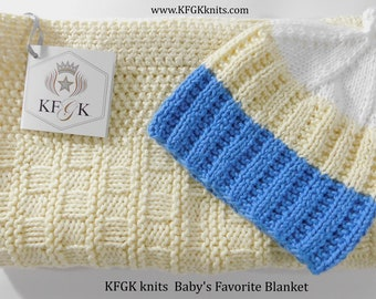 Baby Blanket Gift set with Matching Hat, Hand Knitted, 100% Cotton, Baby Shower Gift, Baptism or Christening!