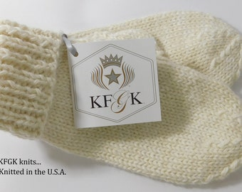 Mittens, 100% Natural Baby Alpaca, Hand Knitted, Made in the U.S.A., One of a kind!