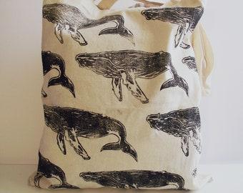 Whale print tote bag