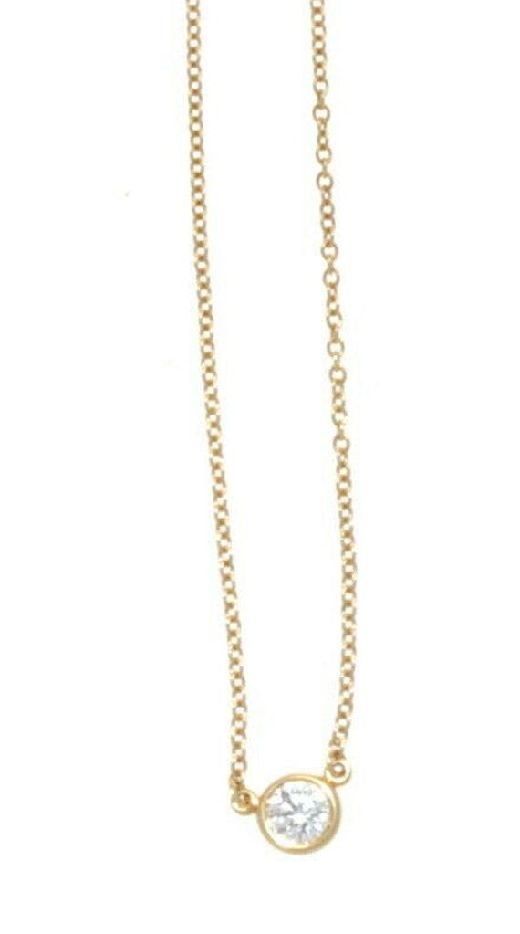 Tiffany Co 18k Yellow Gold Elsa Peretti Bezel Set Diamond Etsy