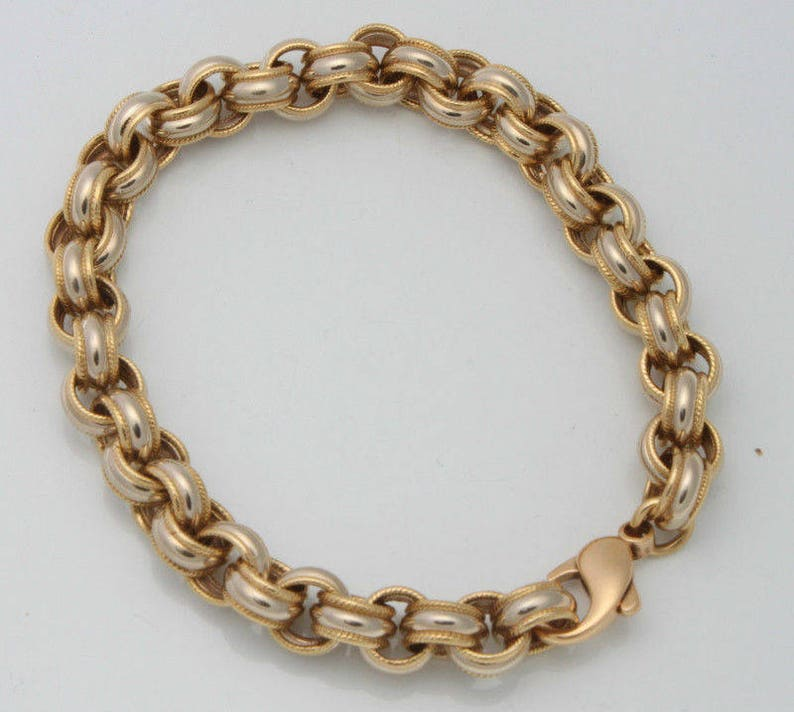 Authentic tiffany & co  18k yellow and white gold 9' inch link bracelet