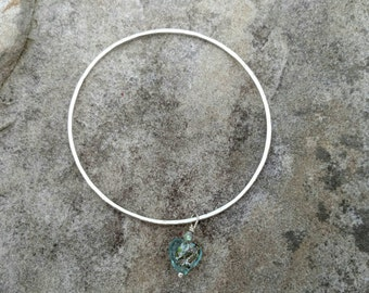 Floating Heart Silver Bangle Bracelet