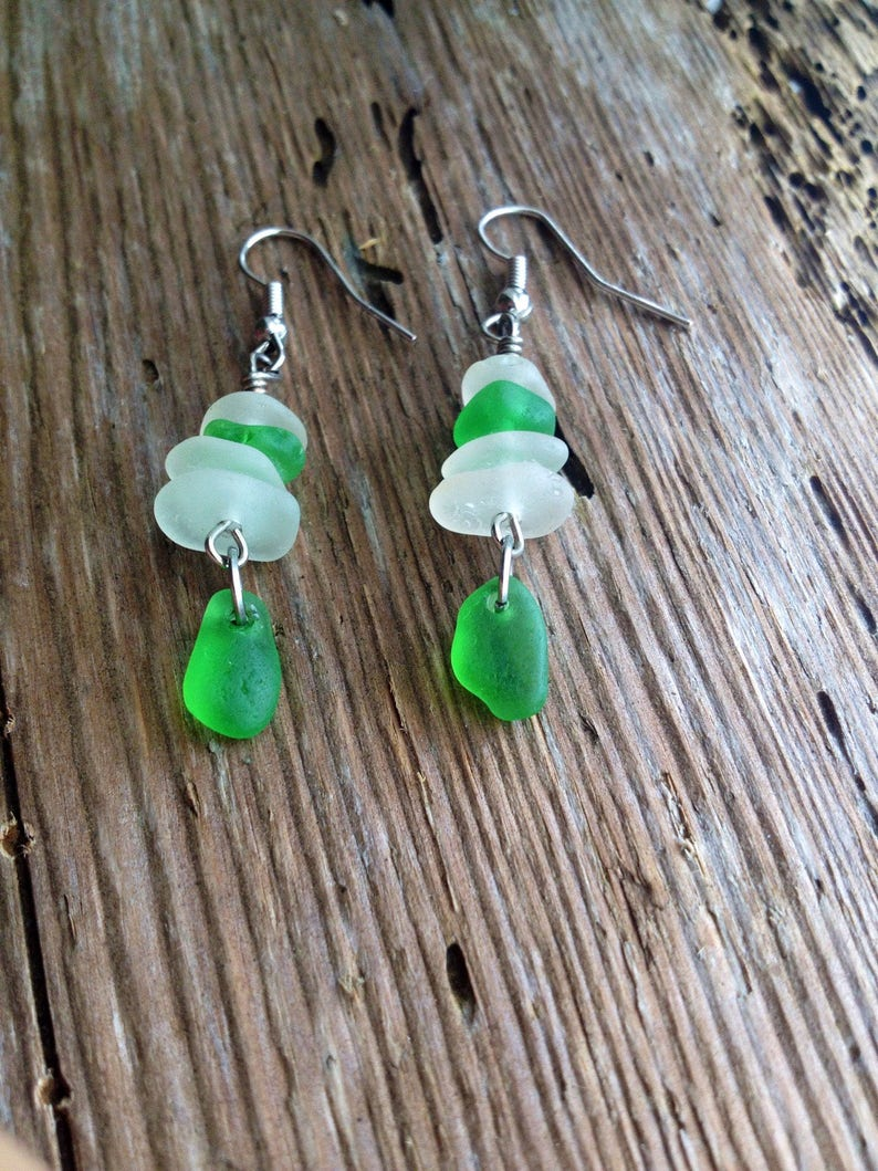 Small dangle earring stacked cairn beach glass jewelry green beach glass sea glass jewel stacked glass green earrings simple earrings