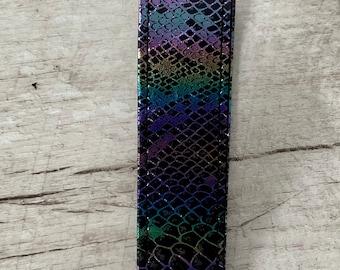 Iridescent Snakeskin Faux LeatherVinyl Key Fob Wristlet