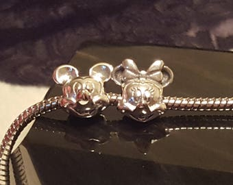 Mickey and Minnie Mouse Silver (sold seperate), Mick and Min 2 Sided Rhinestone Heart, or Slvr, Gld, Rhinestone Round Minnie European Charm