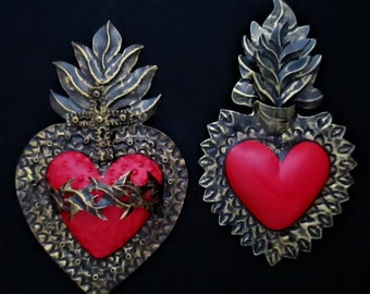 Sacred Hearts, Punched Tin Hearts, Corazon, Set (2), 10th Anniversary Gift, Tin Anniversary