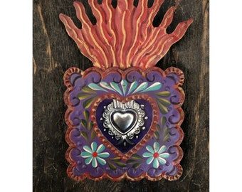 SACRED HEART MILAGRO Frame, Painted Tin Nicho, Mexican Milagro Heart