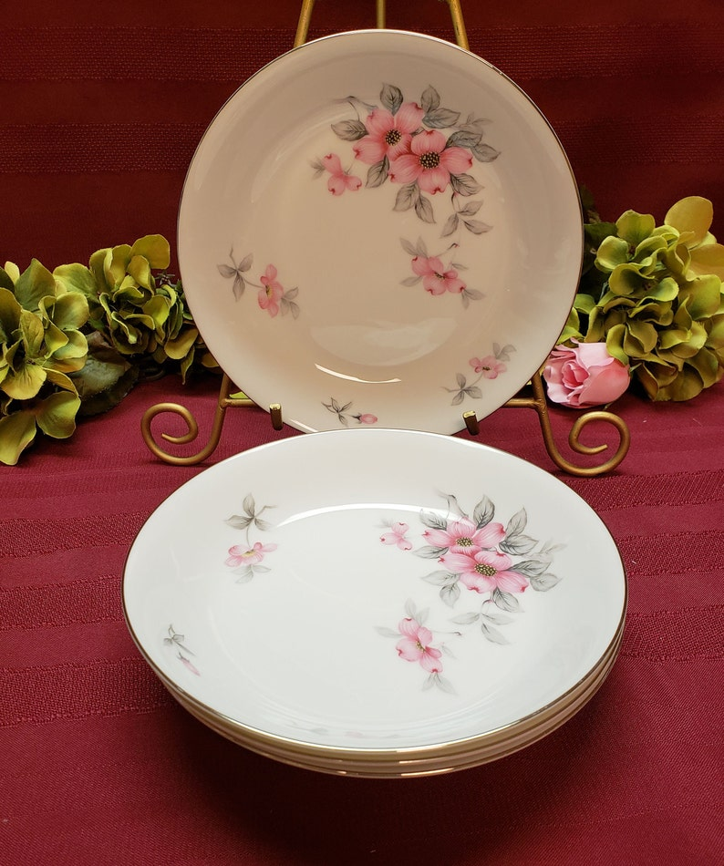 MCM Dining White Pink Floral Made in Japan 4 Available Bread /& Butter Plate Silver Trim 1950s SEYEI Fine China Dogwood Pattern #649