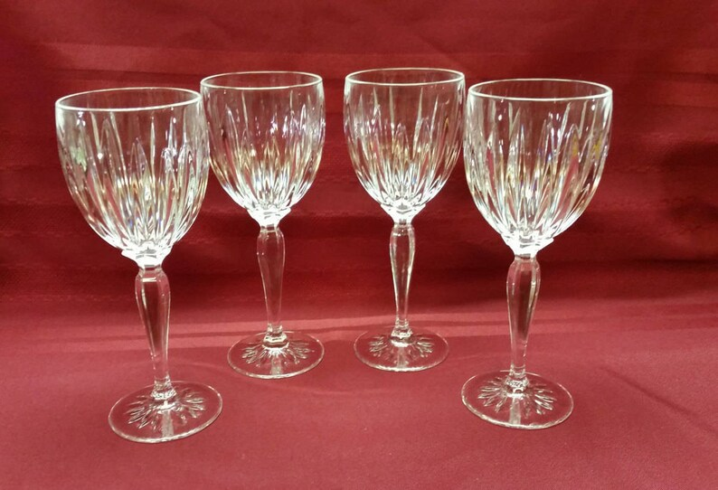 Crystal Wine Glasses Cut Crystal Stems Goblets 6 Point Star Etsy