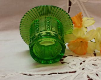 """RARE 1920s Stars and Stripes Green Glass HAT Vase, Toothpick Holder, Collectible, 2.25"""" x 4.5"""" Home Kitchen Bedroom Decor, TV Movie Prop"""