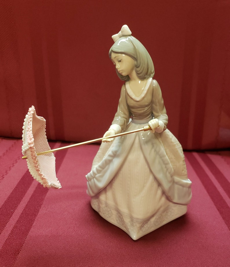 Lladro Jolie Girl With Pink Parasol 5210 Issued 1984 Etsy