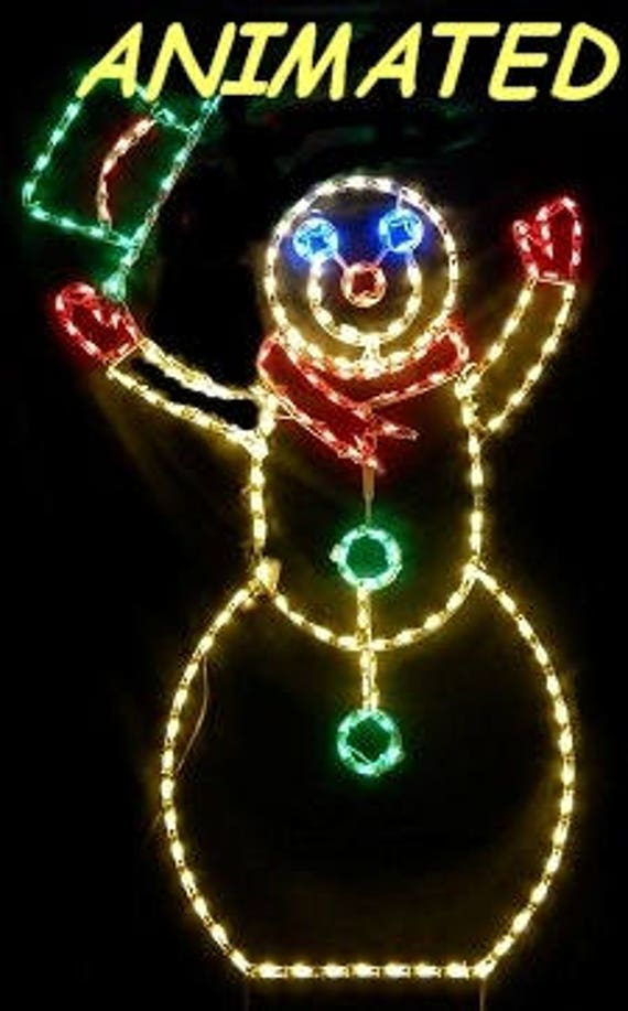 Large Animated Snowman W Hat Christmas Outdoor Holiday Yard Etsy