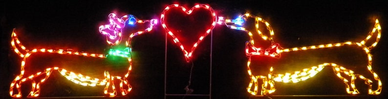 Valentine/'s Day Dachshunds Dogs with Heart Wireframe Outdoor Holiday Yard Decoration Commercial Quality