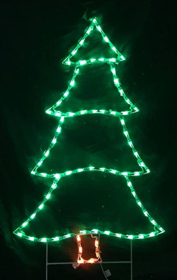 simple evergreen christmas tree wireframe outdoor holiday yard etsy