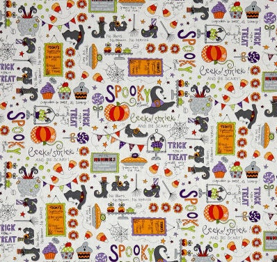 BROOMHILDA/'s BAKERY Halloween on White Quilt Fabric Maywood by the 1//2 yd